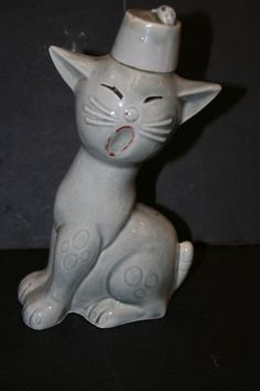 Tiny Black Cat Dollhouse Miniature Ceramic Animal Figurines HALLOWEEN SPOOKY