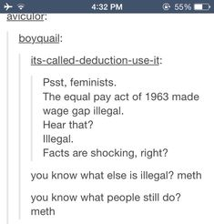 God feminists are so stupid! Meth is illegal and people do it i n s e c r e t. But if you had a wage gap in your company people would notice and your company would get in huge trouble. So no that feminist comment did not prove anything. Tumblr Stuff, Intersectional Feminism, Patriarchy, Faith In Humanity, Statements, Social Justice, Tumblr Funny, Equality, Just In Case