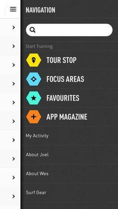 navigation onJoel Parkinson Pro Surf Training #UI #design #digital