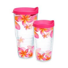 Tervis® Pink Plumeria Tumbler with Pink Lid from Bed Bath  Beyond...the greatest cups ever!