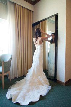 gorgeous ruffled lazaro wedding gown