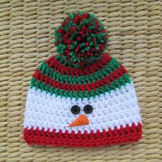 Ideas For Crochet Christmas Baby Hats Crochet Christmas Hats, Crochet Snowman, Holiday Crochet, Christmas Baby, Crochet Baby Hats, Crochet Beanie, Baby Blanket Crochet, Knit Crochet, Booties Crochet