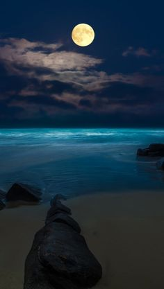 Moon ocean sea beach night