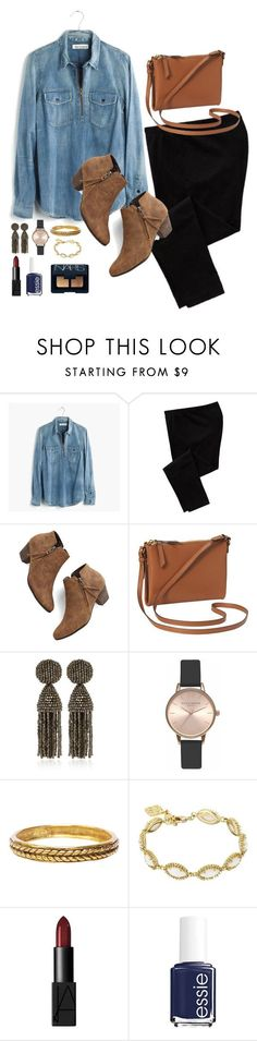 """""""Chambray Tuesdays"""" by classycathleen ❤ liked on Polyvore featuring Madewell, Old Navy, Chelsea Crew, Oscar de la Renta, Olivia Burton, Chanel, Kendra Scott, NARS Cosmetics and Essie"""