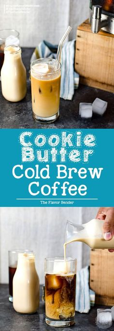 Cookie Butter Cold Brew Coffee - Flavor your coffee with the flavor of Biscoff or speculoos and make the PERFECT cup of Cold Brew Coffee this summer! via (Butter Coffee) Cold Brew Coffee Recipe, Coffee Drink Recipes, Cold Coffee Drinks, Espresso Recipes, Cold Brewed Coffee, Fun Drinks, Yummy Drinks, Beverages, Alcoholic Drinks
