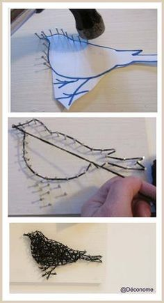 "DIY: Triptychon ""Reihe + Leuchte + Wanddeko"", Home Decor İdeas DIY: Triptychon ""Reihe Wire Crafts, Diy And Crafts, Crafts For Kids, Arts And Crafts, Easy Crafts, Diy With Kids, Kids Fun, Kids Girls, String Art Diy"