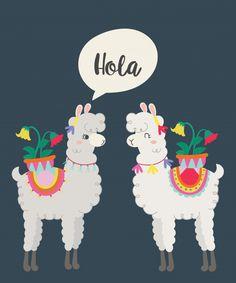 Linda llama Vector Premium Baby Llama, Cute Llama, Alpacas, Llama Birthday, Llama Alpaca, Cute Paintings, Mexican Art, Retro Art, Paint Party