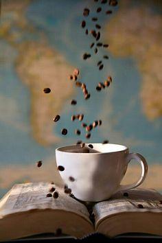 Coffee coffee beans whimsical image fun coffee Fine Art Photography for coffee lovers Grounds For Thought coffee shop art Tea Coffee Art, Coffee And Books, I Love Coffee, Coffee Cups, La Coffee, Coffee Thermos, Coffee Enema, Coffee Music, Best Coffee Shop