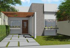 Planta de casa Térrea com 2 Quartos e Pergolado - Frente 3 Car Shed, Modern House Facades, Compact House, Bungalow House Design, Facade House, My House, New Homes, Backyard, Mansions