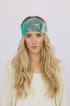 Bohemian Headband Wide Chiffon Aqua and Blue by ThreeBirdNest, $19.00