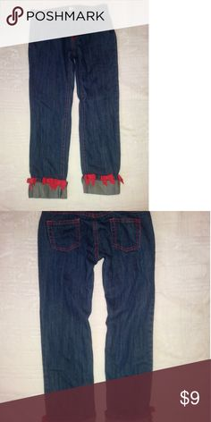 Gymboree denim pants with bows on the bottom Gymboree denim pants with bows on the bottom in great condition size 8 plus  BOGO EVERYTHING   buy one get one free items must be equal or less value   bundle your items and send me an off when your done My items are priced for bundle deals if you feel the price is to high feel free to send me an offer Gymboree Bottoms