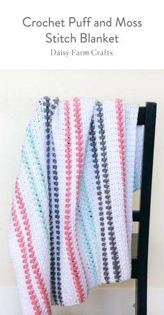 Free Pattern - Crochet Puff and Moss Stitch