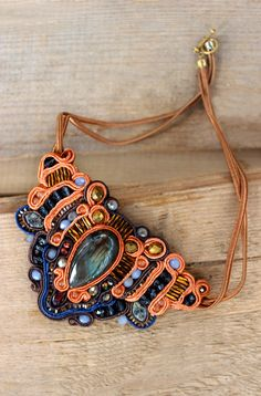 Orange necklace Bib necklace  Soutache necklace with natural labradorite stone Oriental necklace Labradorite Pendant Soutache by Golubchak on Etsy https://www.etsy.com/listing/286171713/orange-necklace-bib-necklace-soutache