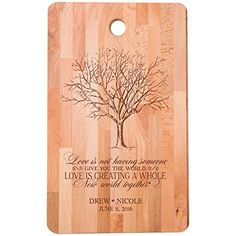 Personalized bamboo Cutting Board reads Love is creating a whole new World Together for bride and groom Wedding Anniversary Gift Ideas for Him Her Couples Established Dates to Remember 11w x 18h ** You can find more details at