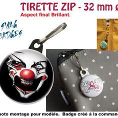 Tirette zip ø 32 mm - scary laughing clown - tirette zip - porte-clefs - button badge pin's