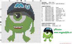 Little Mike Wazowski cross stitch pattern