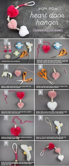 Learn how to create easy DIY pom pom heart decor – Treva Macy - Crochet Diy Décoration, Easy Diy Crafts, Craft Stick Crafts, Craft Gifts, Craft Ideas, Diy Ideas, New Crafts, Crafts For Kids, Arts And Crafts