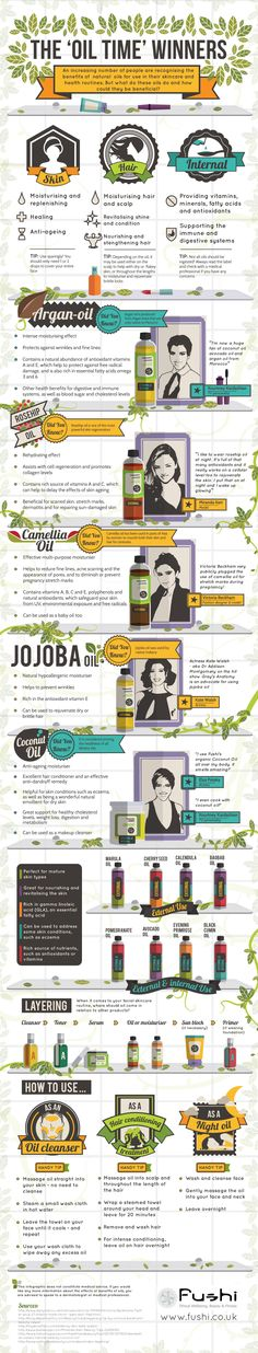The oil time winners infographic - which natural oils for skincare and health routines are best