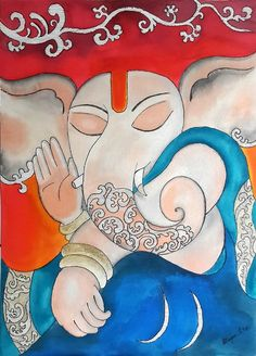 "Original Ink painting "" The calming Ganesha """
