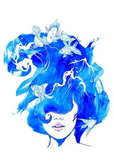 Image result for floating hair art drawing