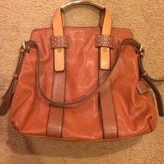 ✨SALE!✨ perfect fall bag! ✨ This bag is adorable!!!  Top handle is has gold accents!  Gold stud accents on bag.  3 shades of brown/tan.  Used 1x.  Super soft material...not leather. Bought at a local boutique.  Please no low balling.  No trades. Bags