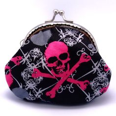 Skull  Small clutch / Coin purse S192 by gracefulbanquet on Etsy, $15.00