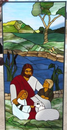"""We made this for a church in Poplar Bluff, MO.  It contains """"hidden"""" images.  Find a frog, footprints, 2 hearts, a tractor, a lighthouse, a cat, and a communion cup."""