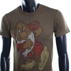 New Mens Disney Snow White Grumpy Seven Dwarfs Humor Mickey Mouse Brown Tshirt | eBay
