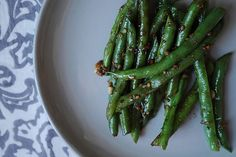 Try new recipes - Asian Garlic Green Beans.this recipe is awesome! My husband LOVED it! Soy Sauce Green Beans, Asian Green Beans, Garlic Green Beans, Ginger Green Beans, Recipes With Soy Sauce, Whole Food Recipes, Cooking Recipes, Healthy Recipes, Food52 Recipes