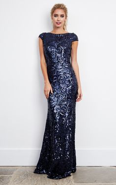 Navy Sequin Embellished Maxi Dress - SilkFred