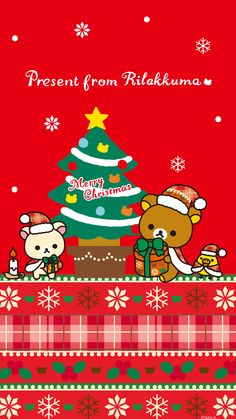 Rilakkuma X'Mas wallpaper for iPhone & Android @(・●・)@