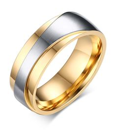 Stainless Steel Gold Plated Two-tone Promise Rings for Couples, Engagement Wedding Bands for Men, Size 9. Stainless Steel Material,100% Nickel Free, Hypoallergenic. Men's Ring: 7mm width, Size Available 8,9,10,11,12,13. Women's Ring: 7mm width,Size available 5,6,7,8,9,AAA cubic zirconia setting. Durable style and comfort fit. Comes with Mealguet Jewelry Brand box or velvet bag, Perfect gift choice.