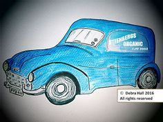 artwork commissioned by @steenbergs This company delivery van is the work of illustrator Debra Hall, #vintage #organic