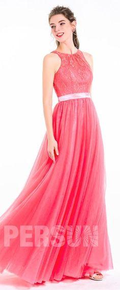 a0ee3aad18 Robe romantique rose corail dentelle longue jupe en tulle pour soirée  cérémonie mariage saint valentin rendez