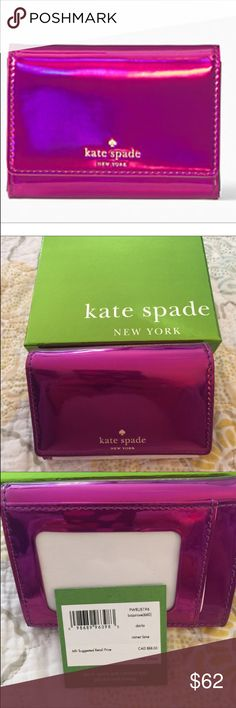 Kate Spade Darla Wallet New with tags and gift box. Bajarose is the color and it's a beautiful iridescent pink. Details and measurements in picture 4 😊 kate spade Bags Wallets
