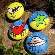 Children Drawer knobs Hand painted 2 inch Beach Animals by DaRosa, $7.50