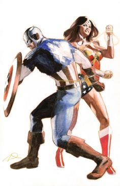 Captain America and Wonder Woman by Gerald Parel
