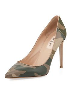 Extremely elegant camo Patchwork Camo Pointed Pump, Safari by Valentino at Bergdorf Goodman.