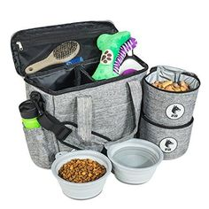 Top Dog Travel Bag - Airline Approved Travel Set for Dogs Stores All Your Dog Accessories - Includes Travel Bag, Food Storage Containers and Collapsible Dog Bowls - Gray Dog Grooming Tools, Dog Grooming Supplies, Online Pet Supplies, Dog Supplies, Dog Toy Storage, Food Storage, Storage Containers, Food Containers, Storage Ideas