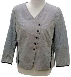 AKRIS Punto Pinstripe Cotton Jacket Angled Snap Front 14 US #AKRIS #BasicJacket