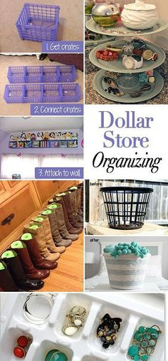 Dollar Store Organizing Ideas Lot's of great tips and ideas on how to save money while organizing all your stuff!