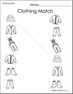 Clothes Matching Worksheets