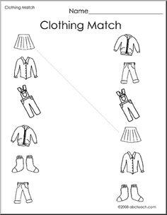 Worksheet: Clothing Match 1 (preschool ...