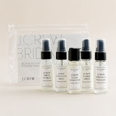 The Laundress New York for J.Crew Wedding Pouch: Be prepared with this kit containing 1 fl oz each of fabric spray, stain remover, wrinkle release, spray starch and anti-static spray.