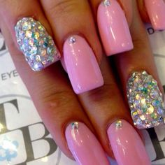 pink nails with glitter accent nails