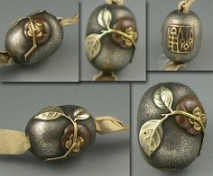 """Beautiful mixed-metal Ojime bead from Japan. I believe that it is a """"kaki fruit,"""" or persimmon, with branch and leaves. My favorite part are the little holes in the leaf put there by the artist. If anyone recognizes the signature, please let me know!"""