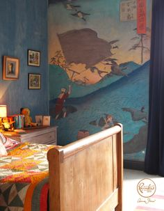 Painter in Residence, Alex Russell Flint painted an impressive Japanese mural inspired by a classic Hiroshige print, Netting Wild Geese on the Hill at Okoshi. He used a range of colors from the Chalk Paint® palette | Via Annie Sloan's Paint & Colour blog