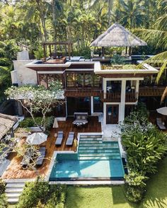 Bali has accommodations and stays for every budget! For those looking for a more secluded, relaxing luxury escape there are spots like the Four Seasons in Ubud! Send us an email today to plan your trip to Bali your way! Ubud, Design Exterior, Interior And Exterior, Exterior Signage, Craftsman Exterior, Bali Resort, House Goals, Modern House Design, Dream House Design