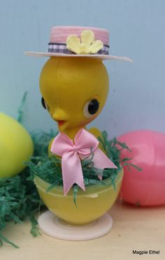 Vintage Style Easter Chick  Yellow Easter Egg by MagpieEthel, $6.00