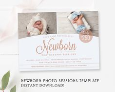 Perfect marketing to advertise your Newborn Photography talents. Post it to your Facebook or blog. It is also perfect for using as a flyer, postcard, photo newsletter, mini session announcement or promotion. It can be easily adapted to announce any kind of mini session.